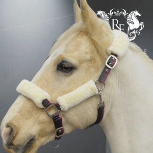 Faux Fur Padded Headcollar-Striped & Lead Rope Set