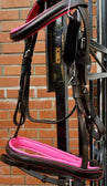LEATHER PADDED COMFORT BRIDLE WITH PINK COLOUR PADDING CONTRAST STITCHING