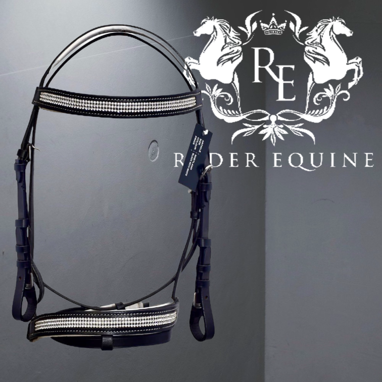 WHITE PADDED COMFORT DIAMANTE BRIDLE