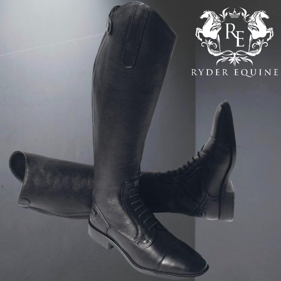 Clearance Rhinegold Elite Luxus Black Leather Riding Boot