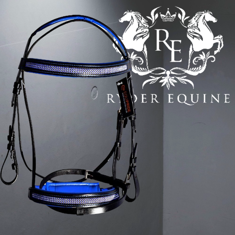ROYAL BLUE PADDED COMFORT DIAMANTE BRIDLE
