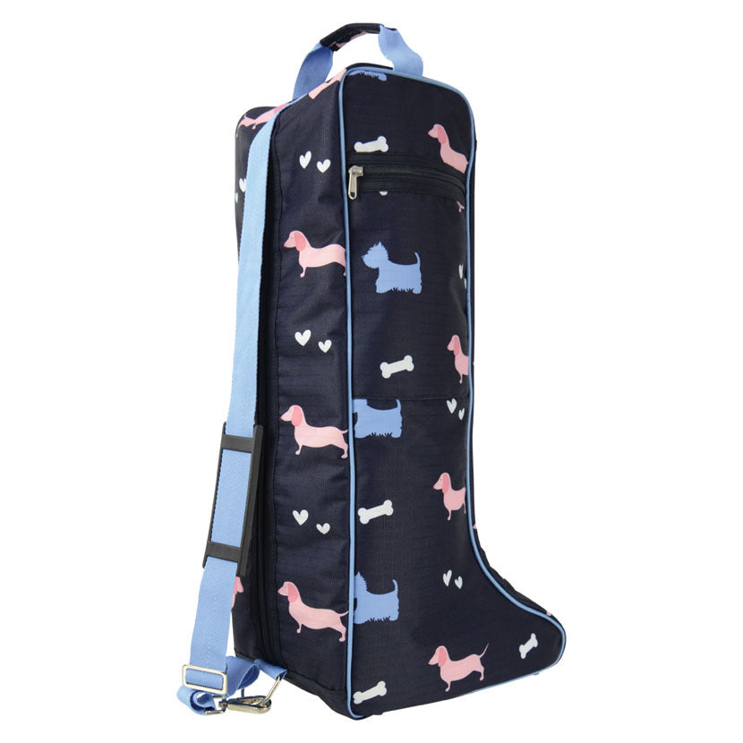 Hy Liza Dog Print Boot Bag - Navy/Blue/White/Pink - One Size
