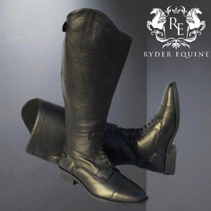 Rhinegold Wide Leg 'Luxus Extra' Black Leather Riding Boot