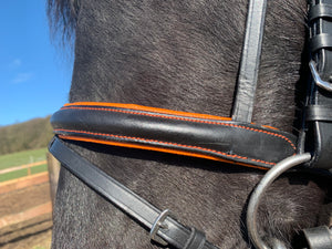 LEATHER PADDED COMFORT BRIDLE WITH ORANGE COLOUR PADDING CONTRAST STITCHING