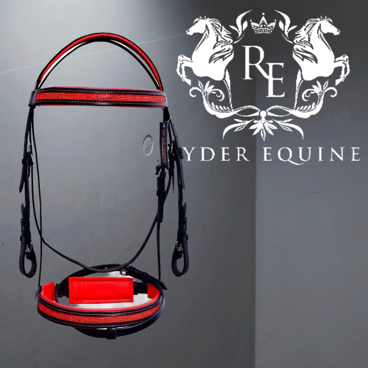 RED PADDED COMFORT DIAMANTE BRIDLE