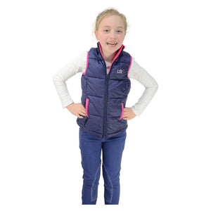 Annabelle Padded Gilet by Little Rider - Navy/Pink
