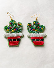 Load image into Gallery viewer, Christmas Cactus Drop Earrings