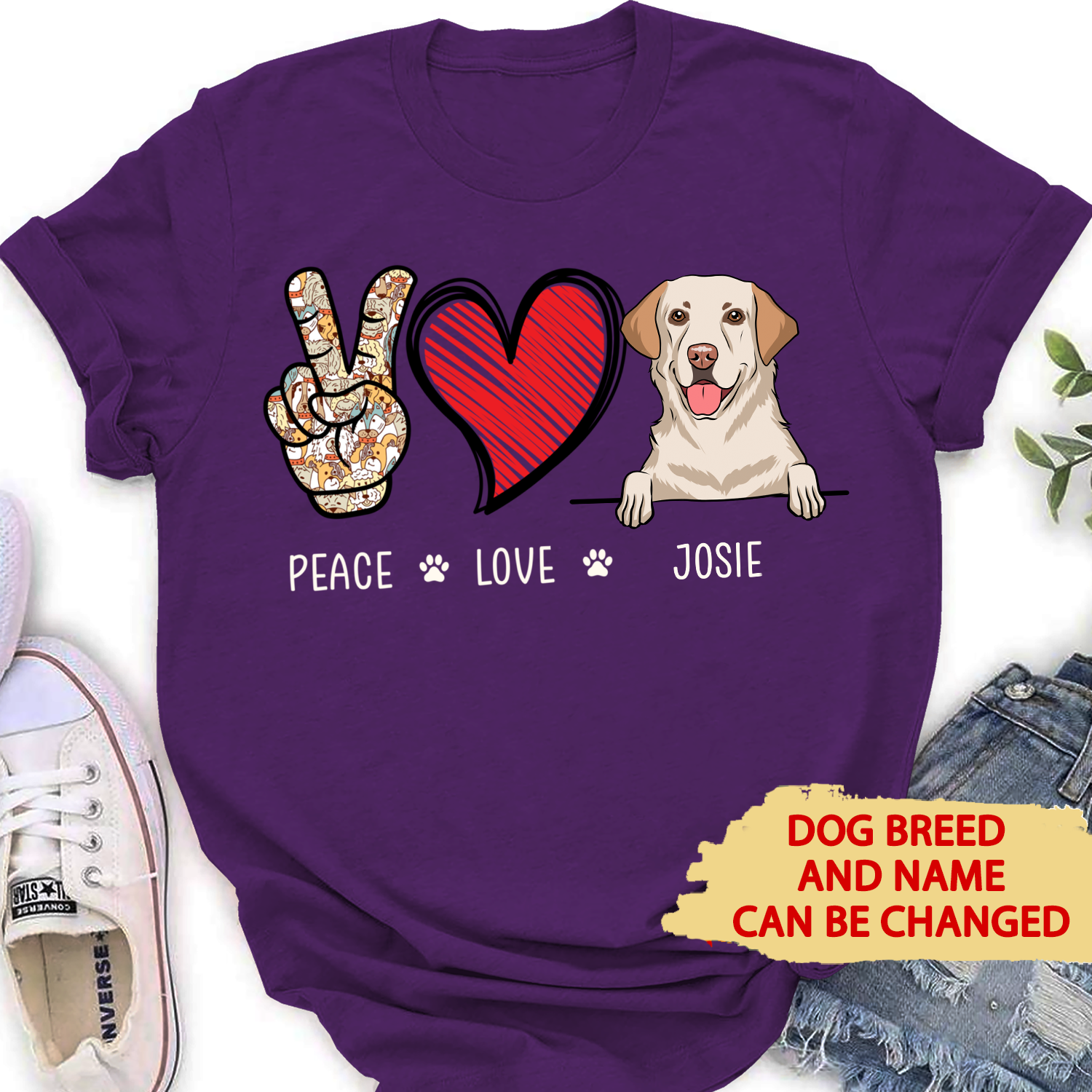 Peace Love Dog - Personalized Custom Women T-shirt