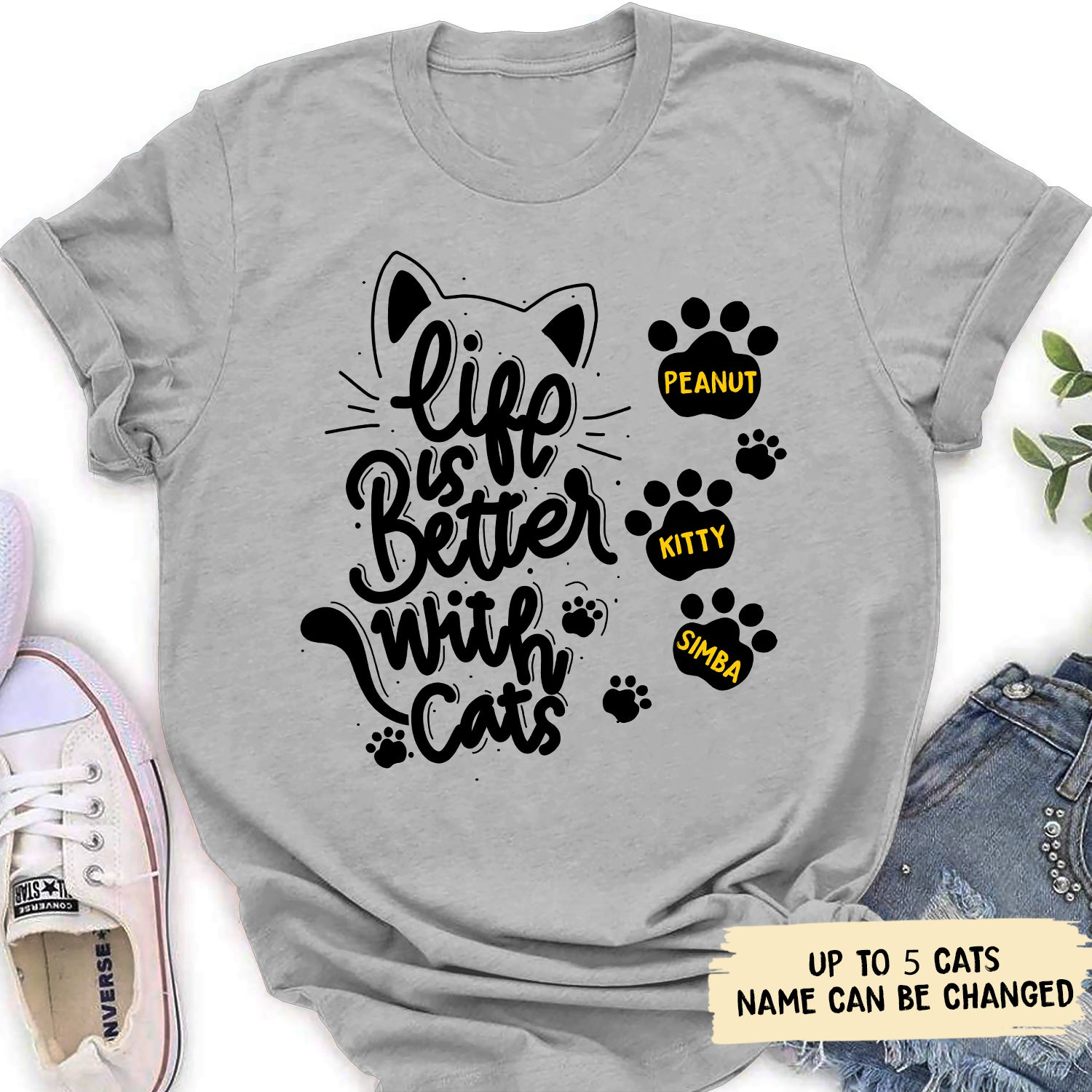 Life Is Better With Cats - Personalized Custom Women's T-shirt - Gifts For Cat Lovers