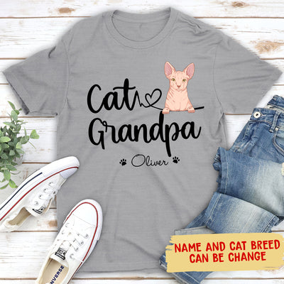 Cat Grandpa/Grandma - Personalized Custom Unisex T-shirt - Gifts For Cat Lovers