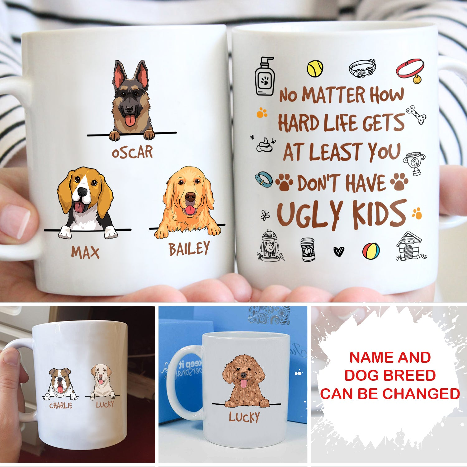 At least you don't have ugly kids - Personalized custom coffee mug