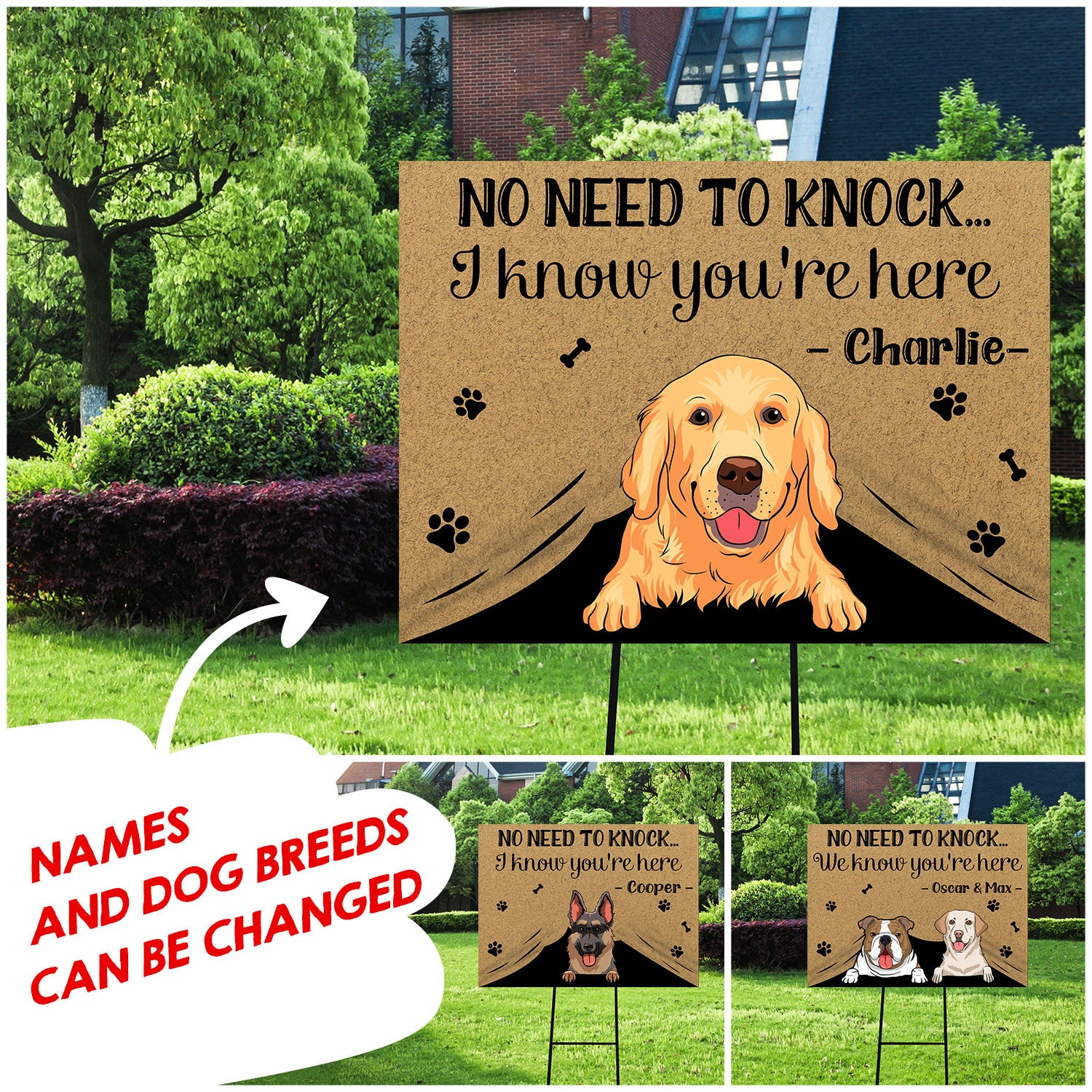 No need to knock - Personalized custom yard sign