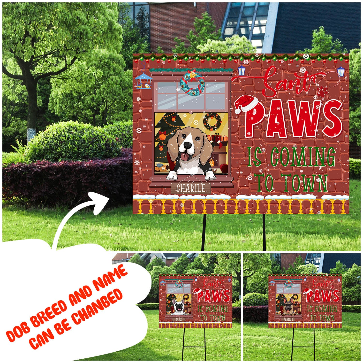 Santa Paws Is Coming To Town - Personalized Custom Yard Sign - Christmas Yard Sign