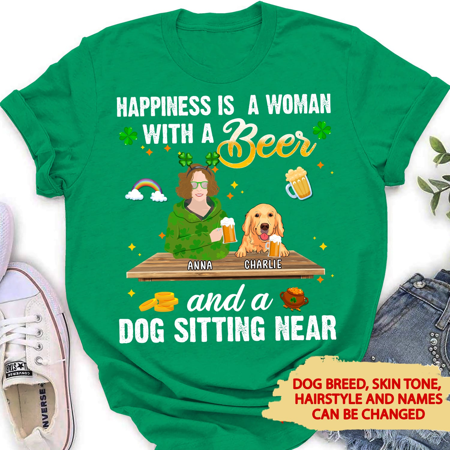 Dog Sitting Near - Personalized Custom Women's T-shirt