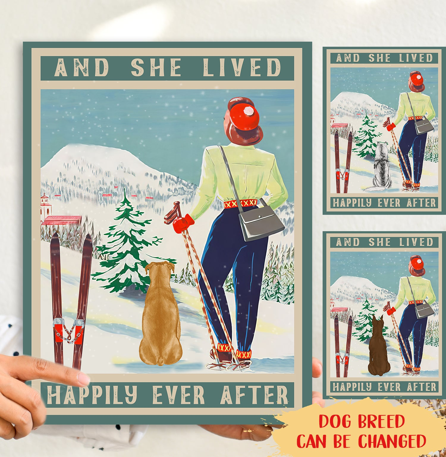 And She Lived Happily Ever After - Dog And Skiing - Personalized Custom Canvas
