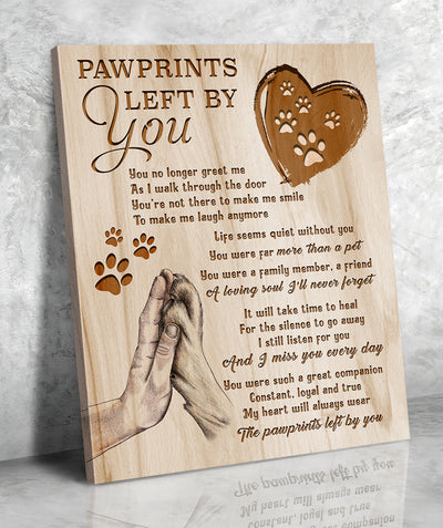 Matte canvas - Pawprints left by you - Pet memorial canvas - Home decor, Wall art