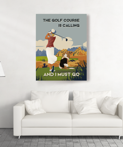 Golf Course Dog - Personalized Custom Canvas