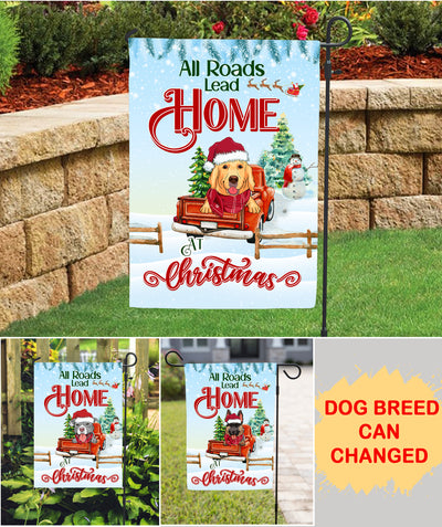 All Roads Lead Home - Personalized Custom Garden Flag - Christmas Decorations For Dog Lovers