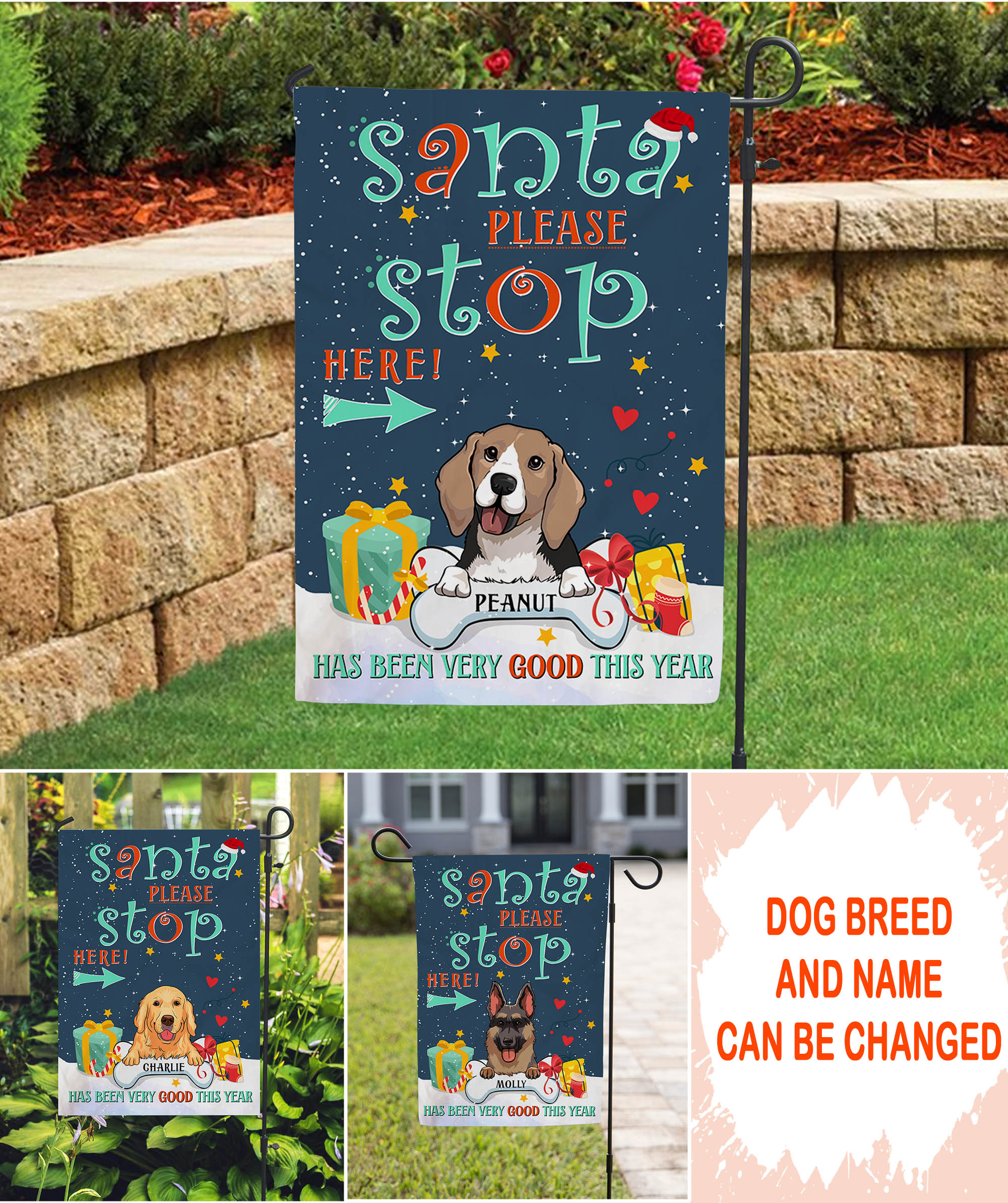 Santa Please Stop Here - Personalized Custom Garden Flag - Christmas