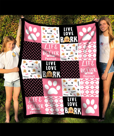 Live Love Bark - Personalized Custom Fleece Blanket - Gifts For Dog Lovers