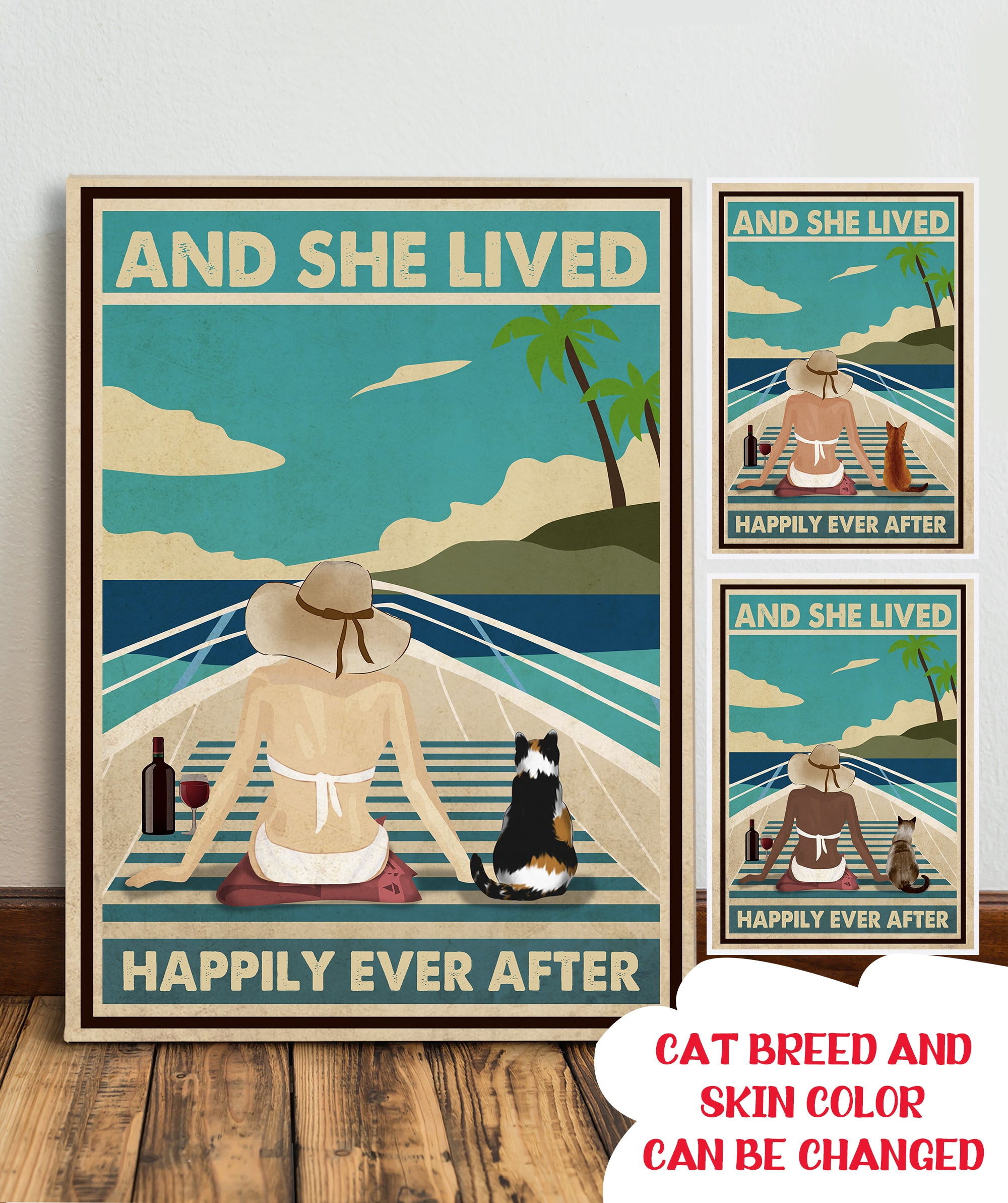 Boat With Cat - Personalized Custom Canvas - Happily Ever After