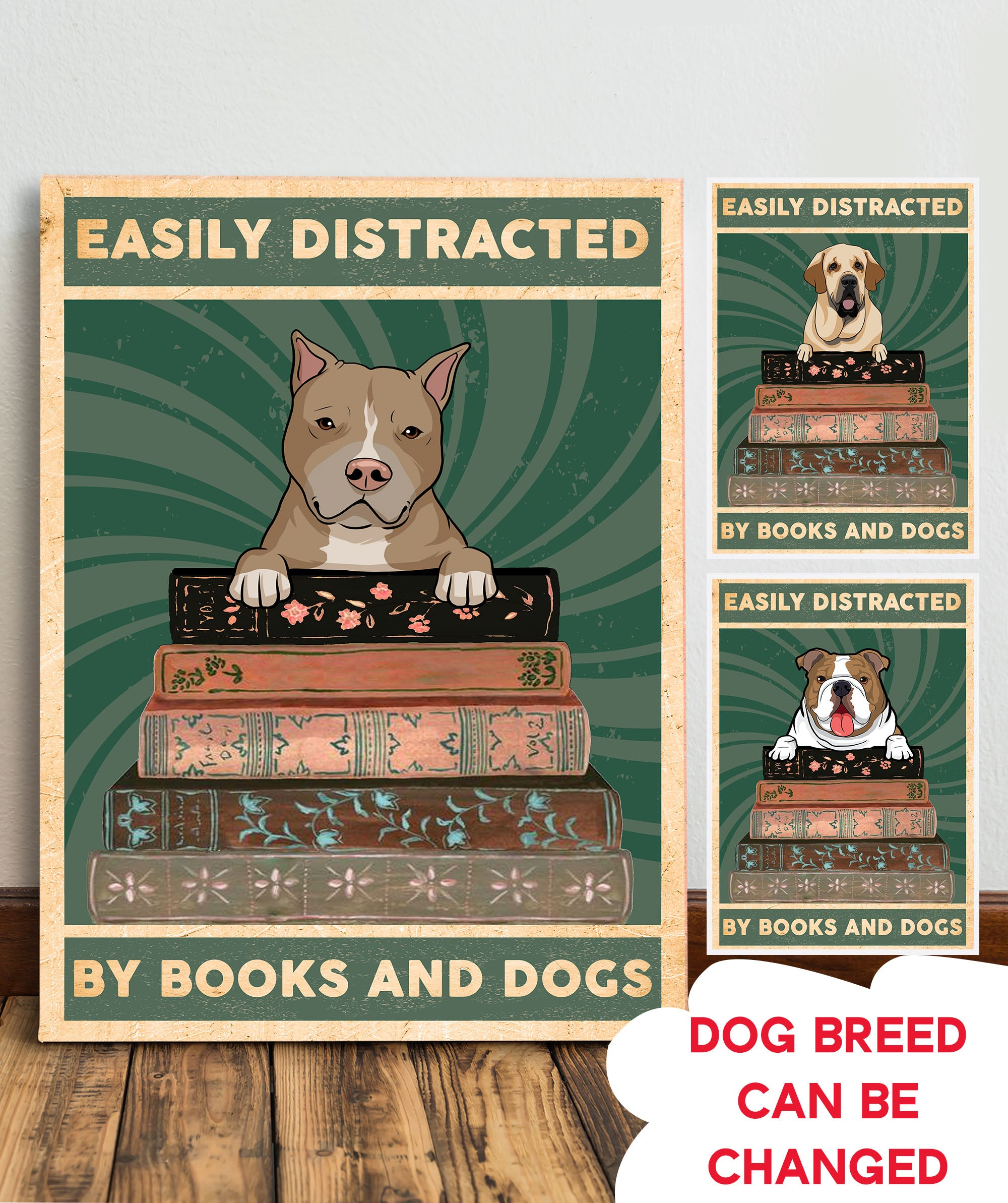 Books And Dogs - Personalized Custom Canvas