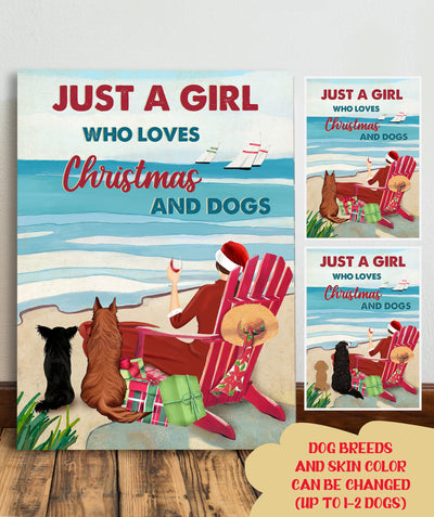 Just A Girl Who Loves Christmas And Dogs - Personalized Custom Canvas - Christmas Gifts