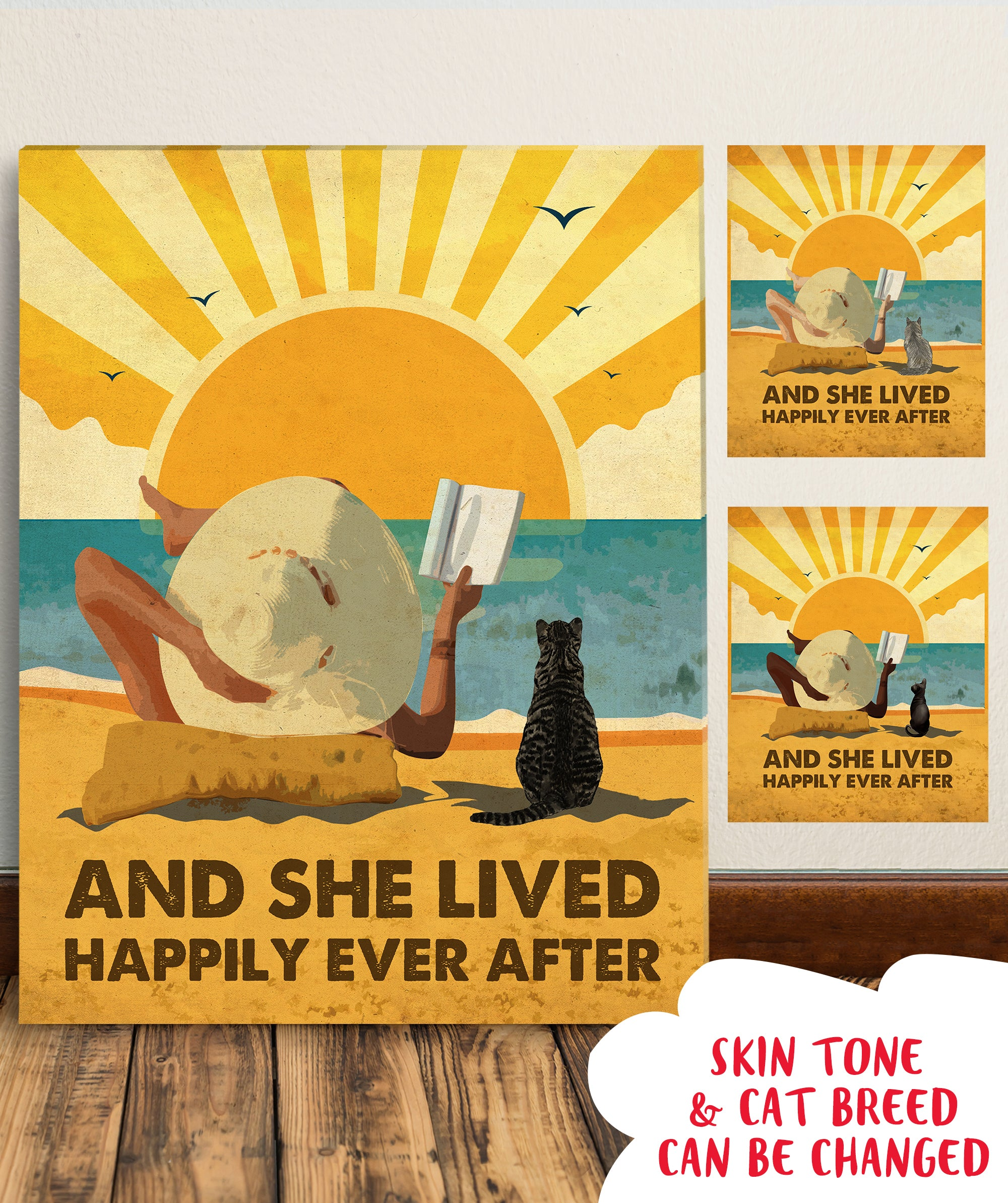 Cat Happily Ever After - Personalized Custom Canvas - Cat, Beach and Book