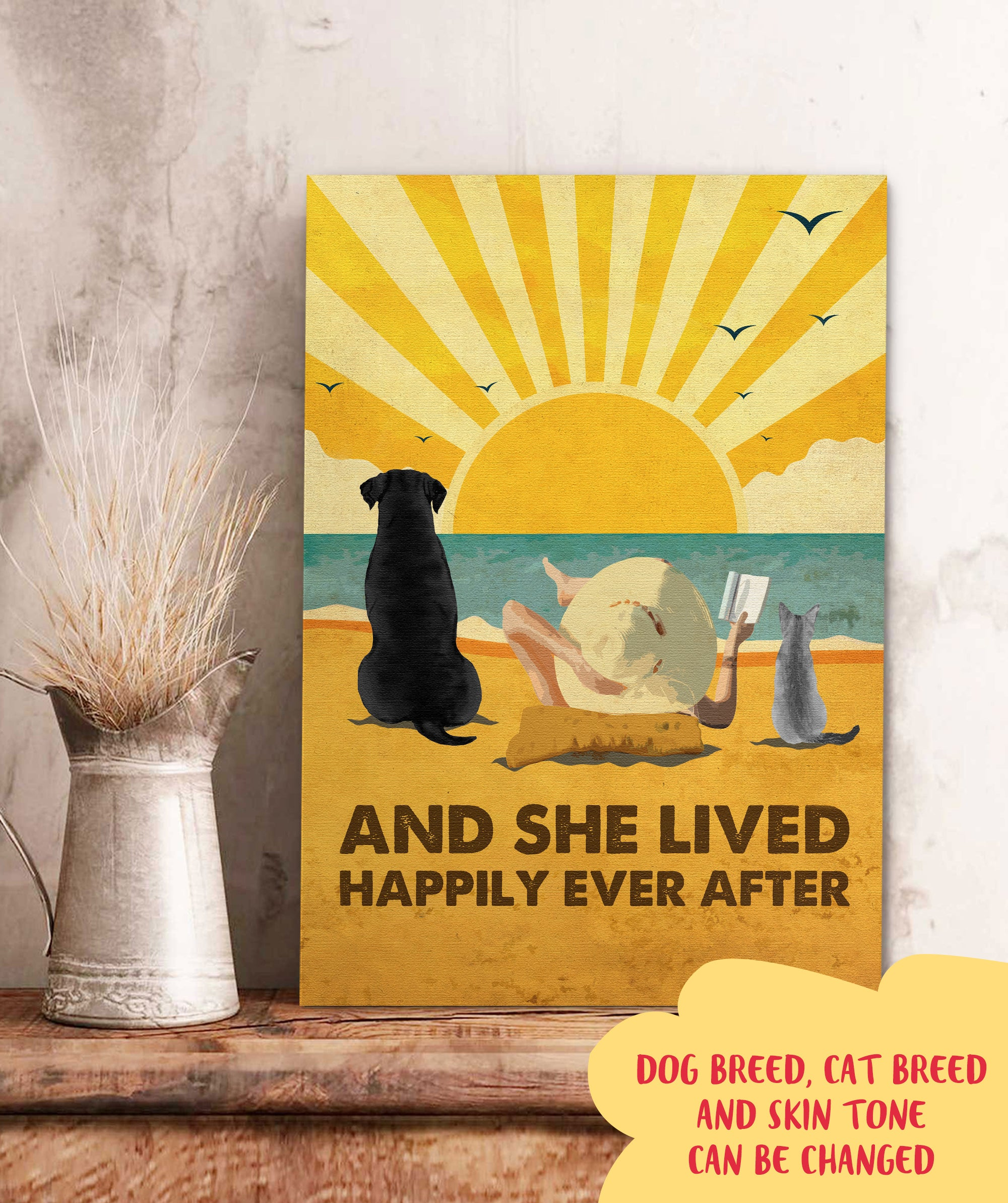 Dog Cat Happily - Personalized Custom Canvas