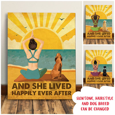 Yoga And Dog - Happily Ever After - Personalized Custom Canvas
