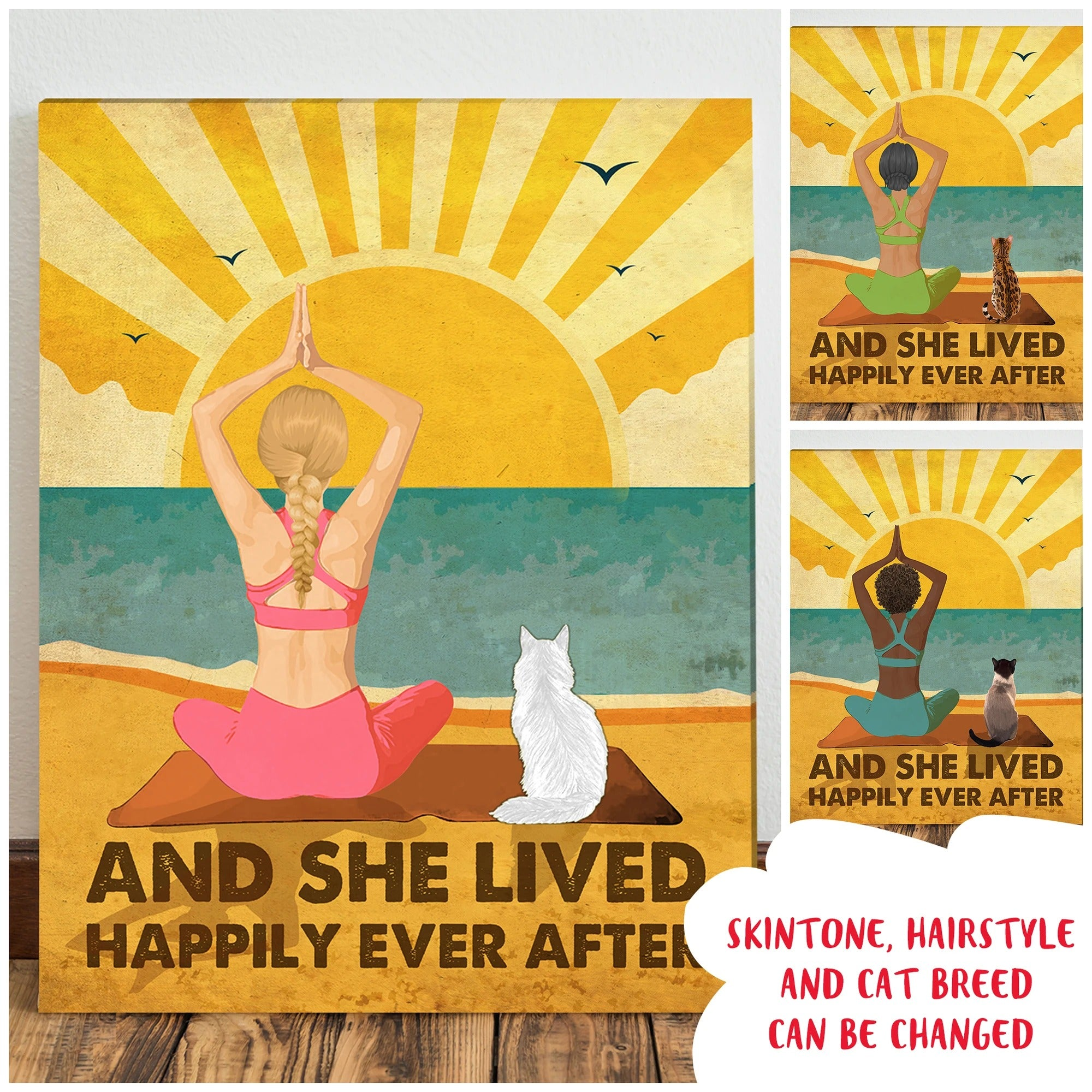 Yoga And Cat - Happily Ever After - Personalized Custom Canvas