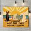 Dog Happily Ever After - Personalized Custom Canvas - Dogs, Beach and Book - Multi-Dog Version