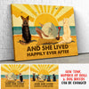 Dog Happily Ever After - Personalized Custom Canvas - Beach, Wine And Dogs