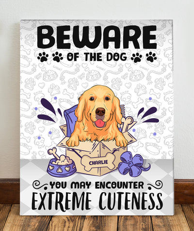 Beware Of The Dog - Personalized Custom Canvas