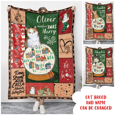 Cat Makes Xmas Merry - Personalized Custom Fleece Blanket - Christmas Gifts For Cat Lovers