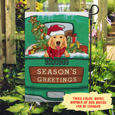 Season's Greetings – Personalized Custom Garden Flag - Christmas Lawn Decorations