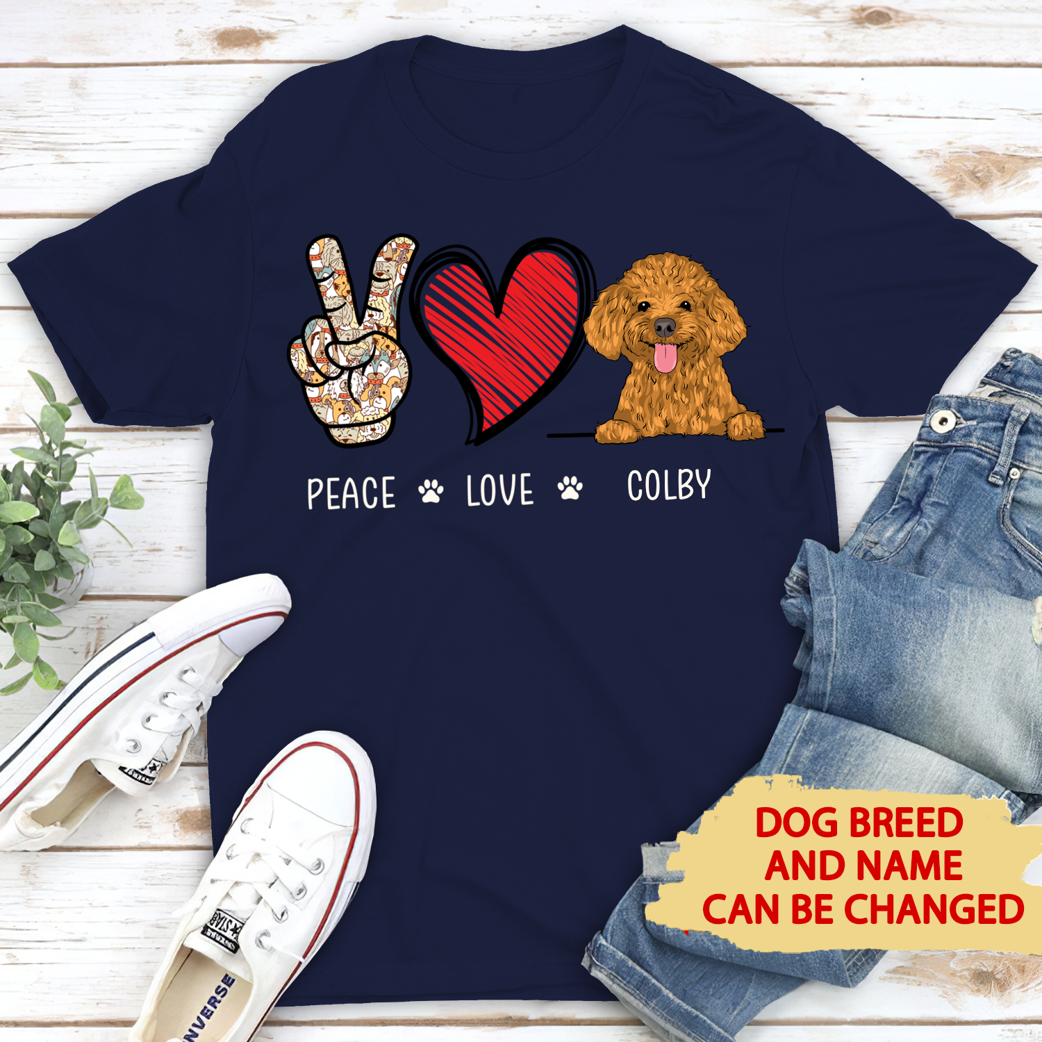 Peace Love Dog - Personalized Custom Premium T-Shirt