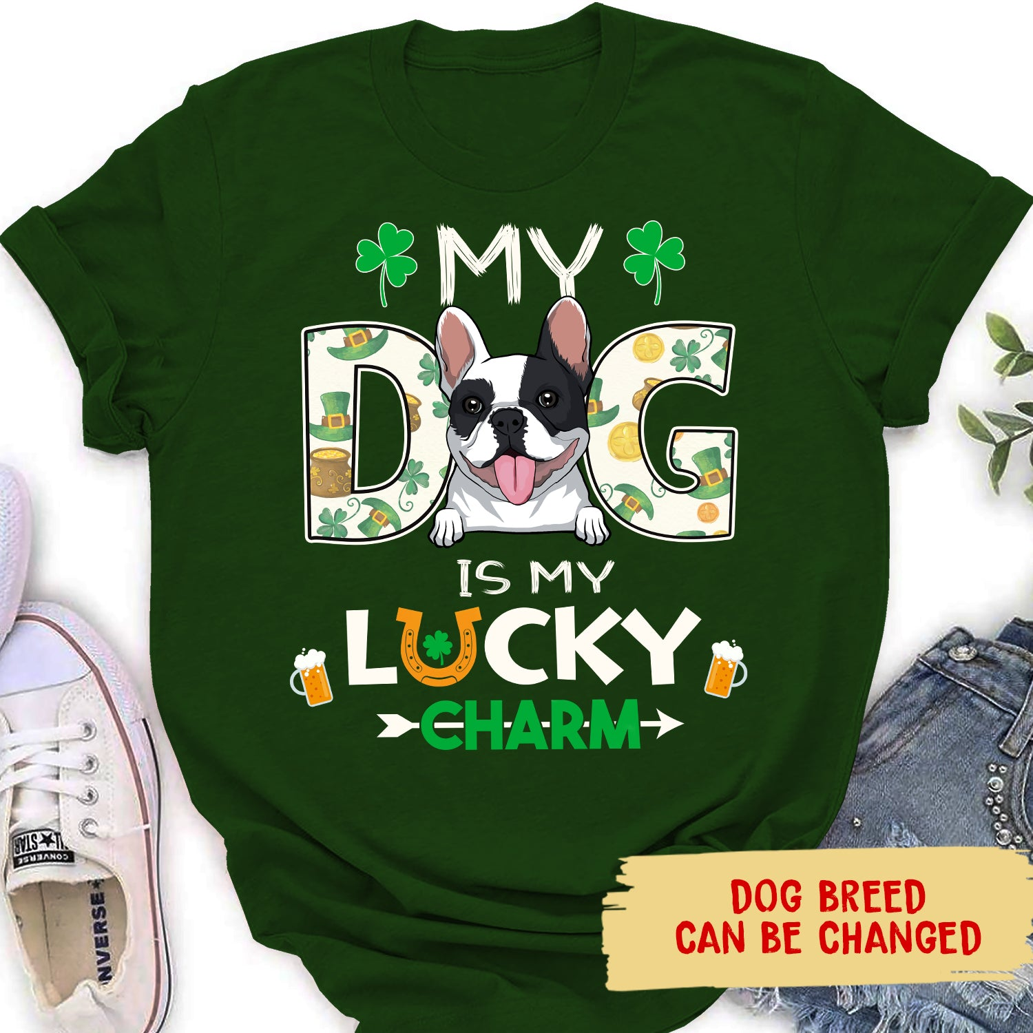 My Dog Is My Lucky Charm - Personalized Custom Women T-shirt