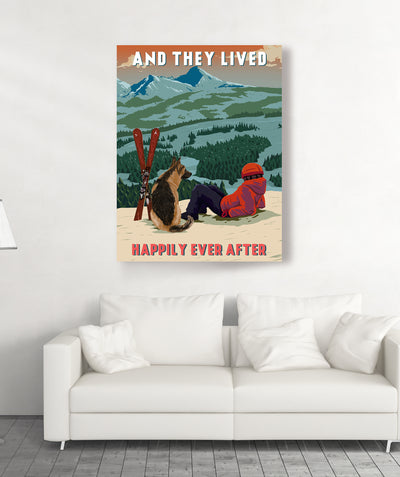 Skiing Happily Ever After - Personalized Custom Canvas
