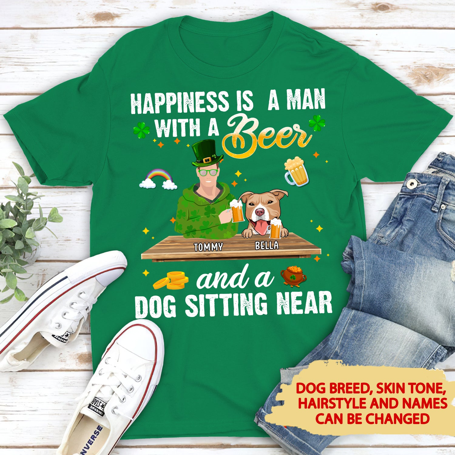 Dog Sitting Near - Personalized Custom Unisex T-shirt