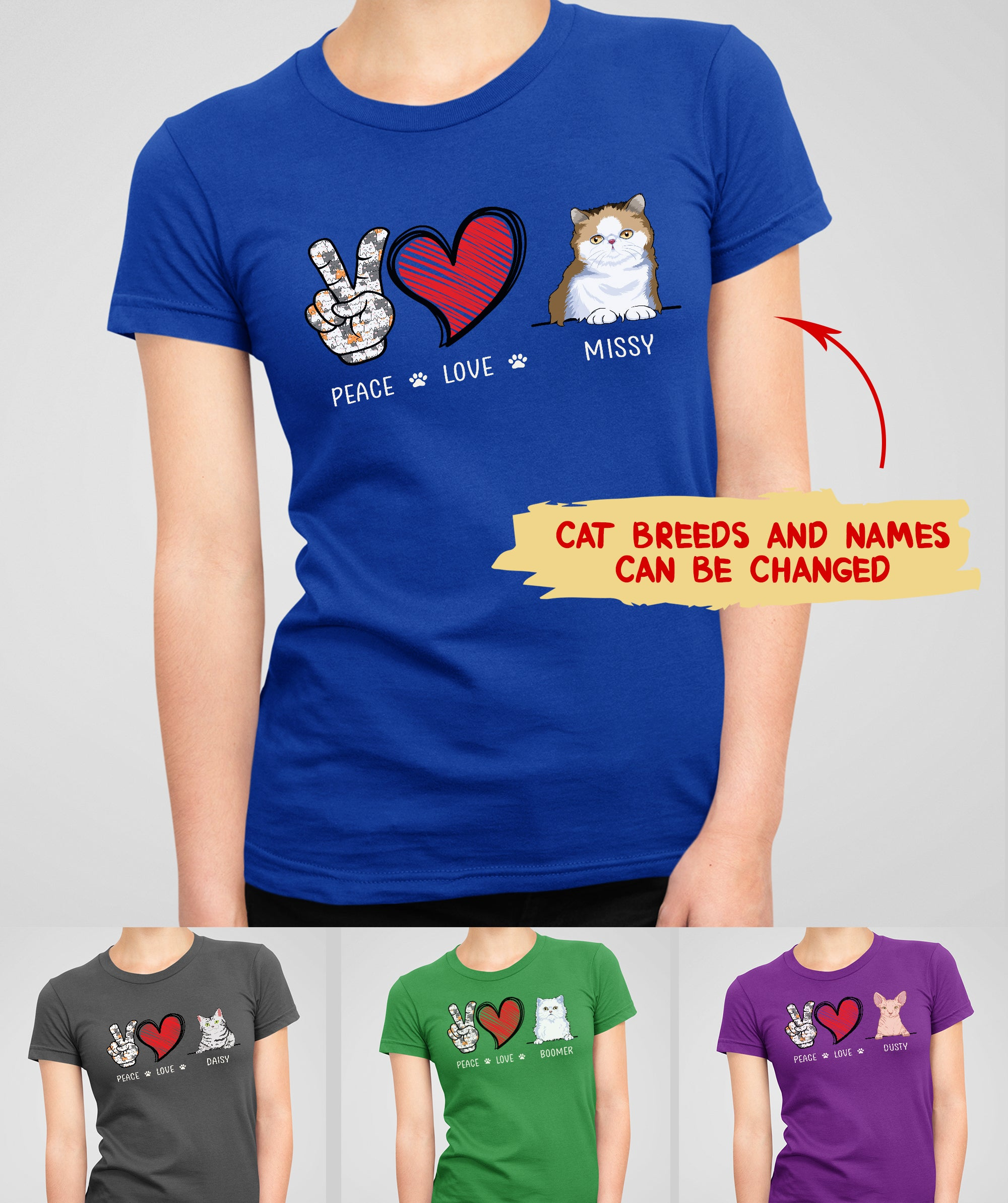 Peace Love Cat - Personalized Custom Women's T-shirt