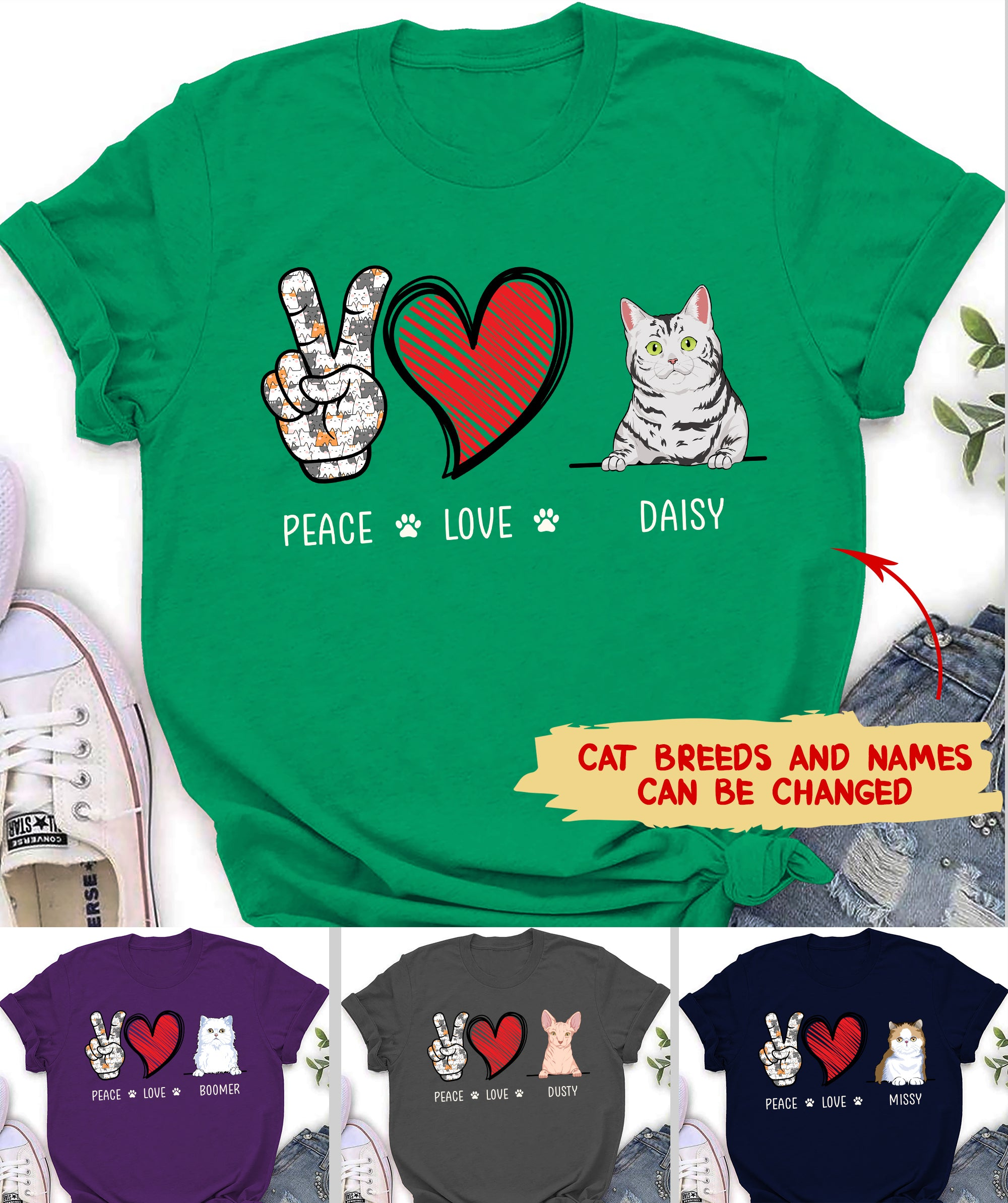Peace Love Cat - Personalized Custom Premium T-shirt