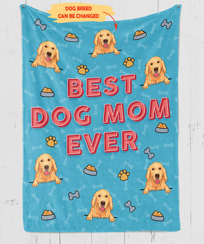Best Dog Mom Ever - Personalized Custom Fleece Blanket, Dog Mom Blanket