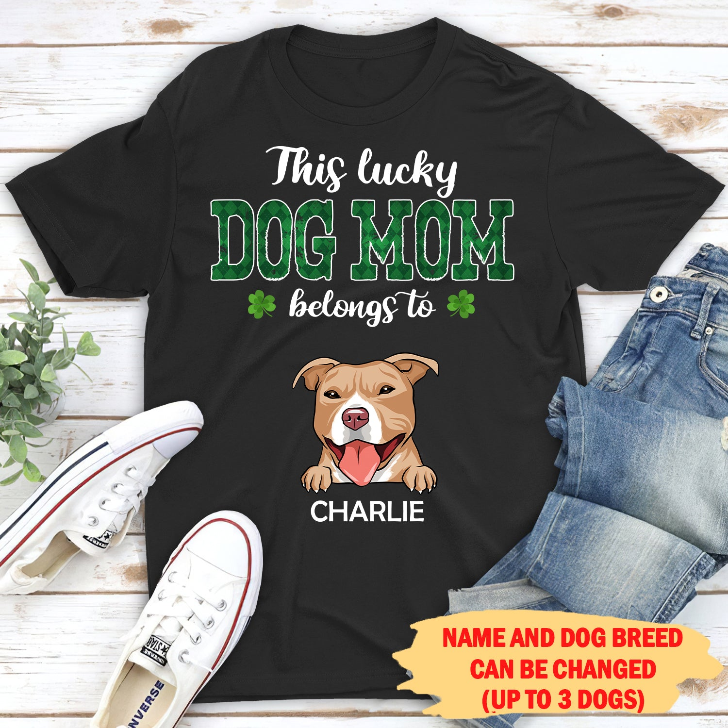 This Lucky Dog Mom Belongs To - Personalized Custom Unisex T-shirt