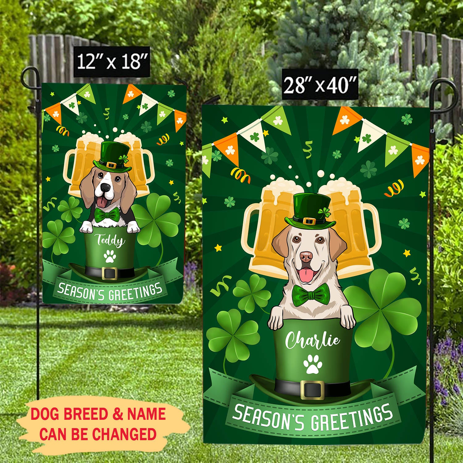 Season's Greetings - Personalized Custom Garden Flag - St. Patrick's Day Decorations