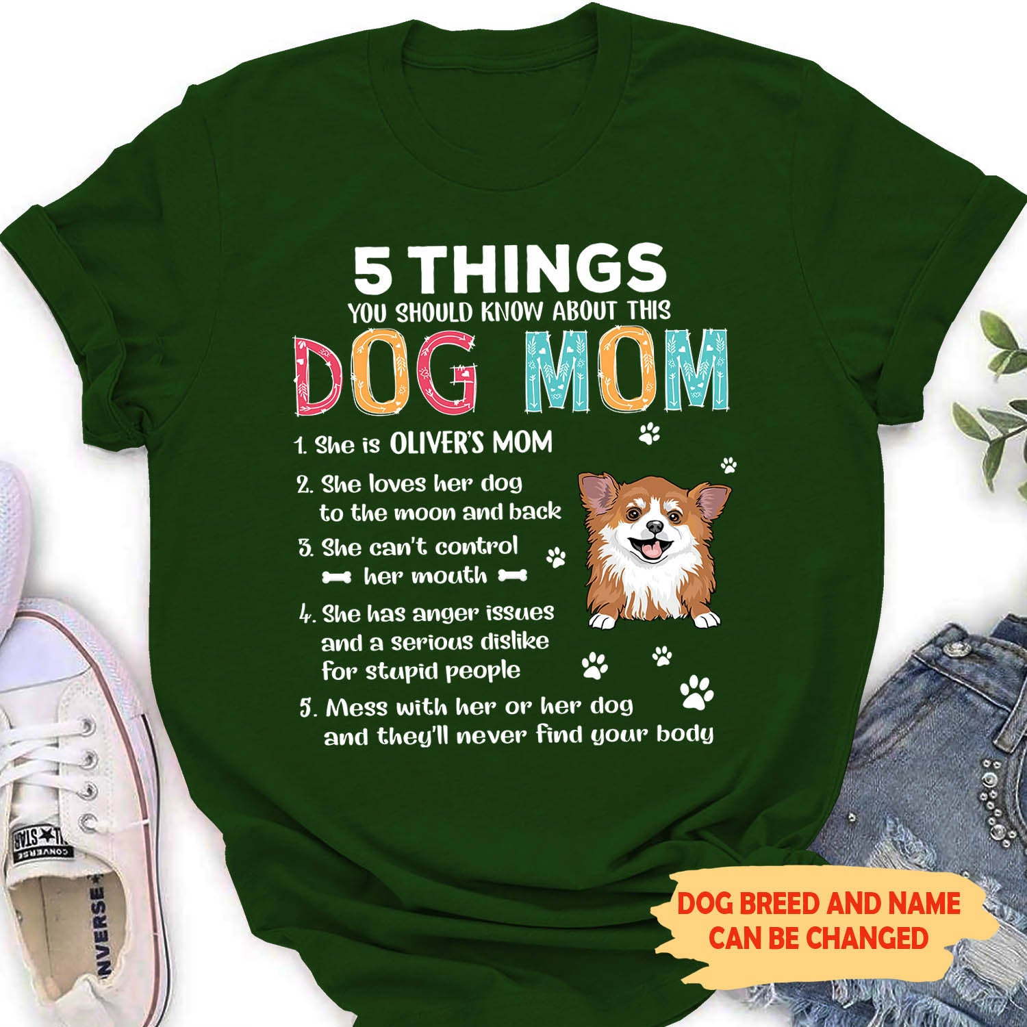 5 Things About Dog Mom - Personalized Custom Women's T-shirt
