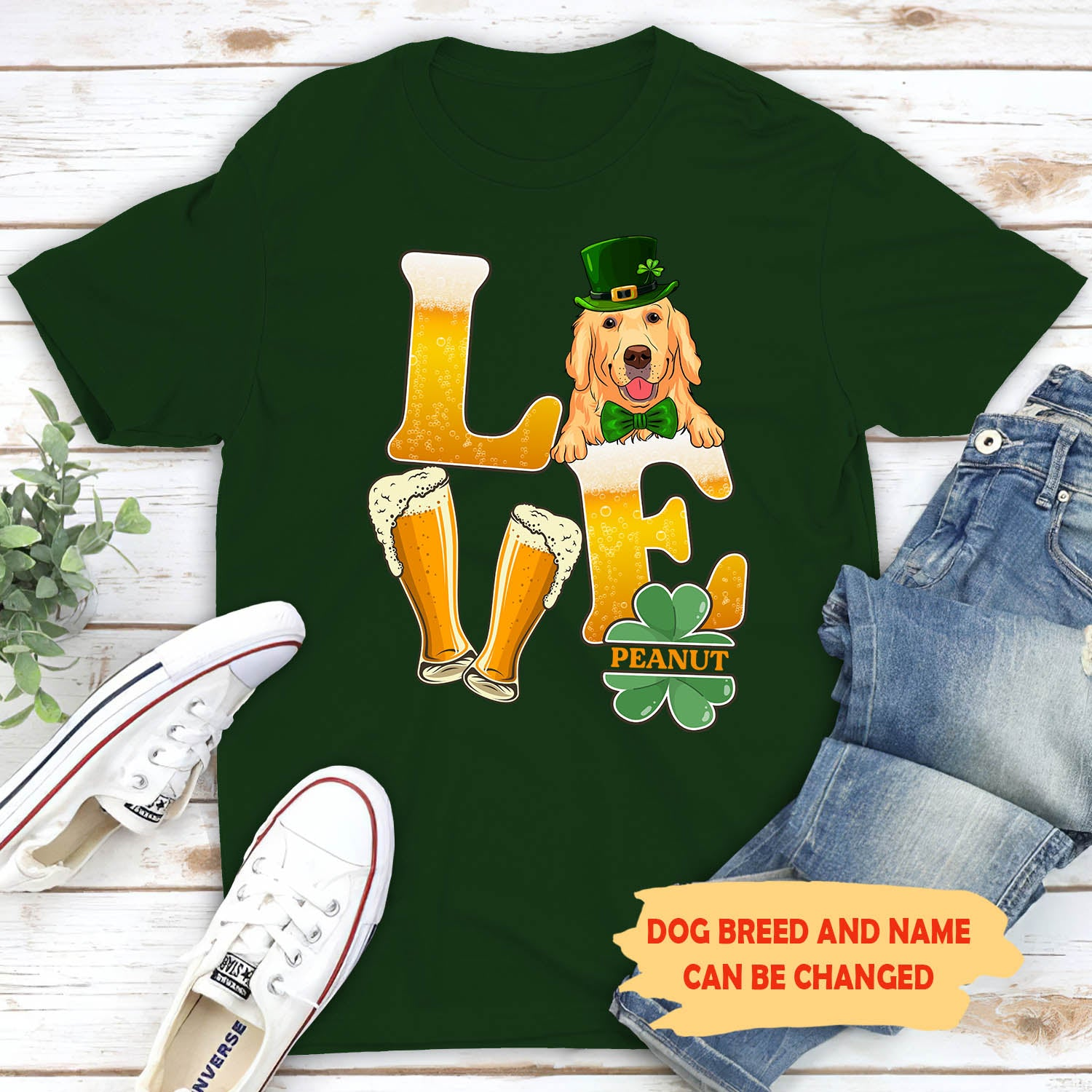 Beer Love Dog - Personalized Custom Unisex T-shirt - St. Patrick's Day Shirt