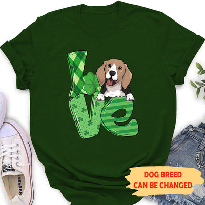 Love St Patrick - Personalized Custom Women's T-shirt - Gifts For Dog Lovers