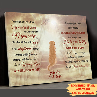 Hold You Tightly - Personalized Custom Canvas  - Memorial Dog Gifts
