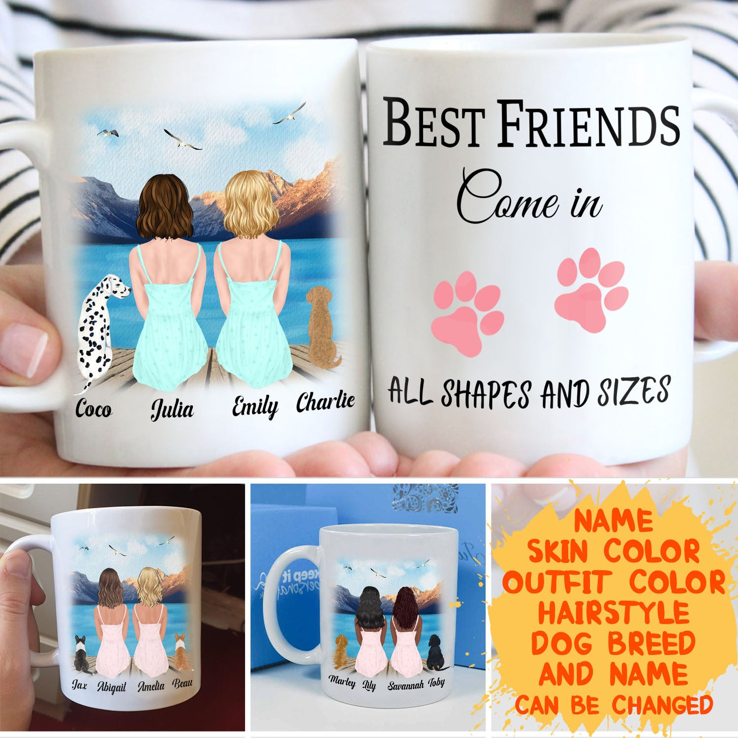 Best Friends Come in All Shapes and Sizes - Personalized Custom Coffee Mug